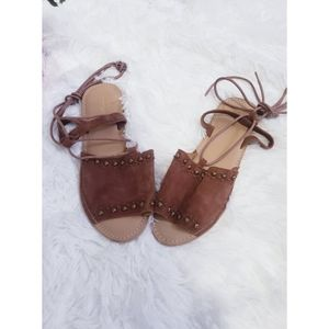 TOPSHOP BROWN LEATHER ANKLE WRAP SANDALS SIZE 9.5